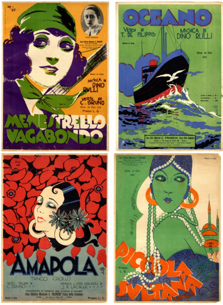 Sheet music covers, illustrated by Carlo Innocenzi (ca 1928)