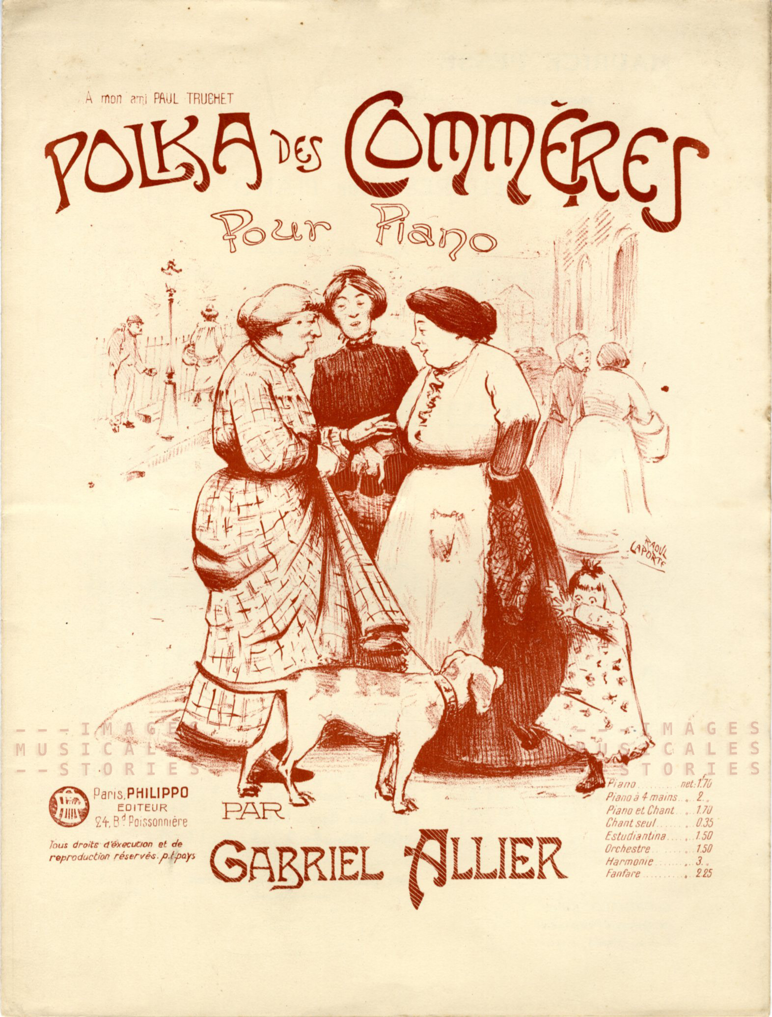 Polka des Commères, sheet music cover illustrated by Laporte