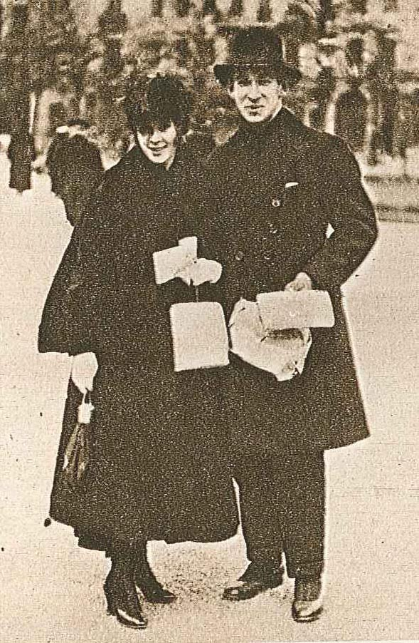 Just married: Einar Nerman and his wife Kajsa in 1916