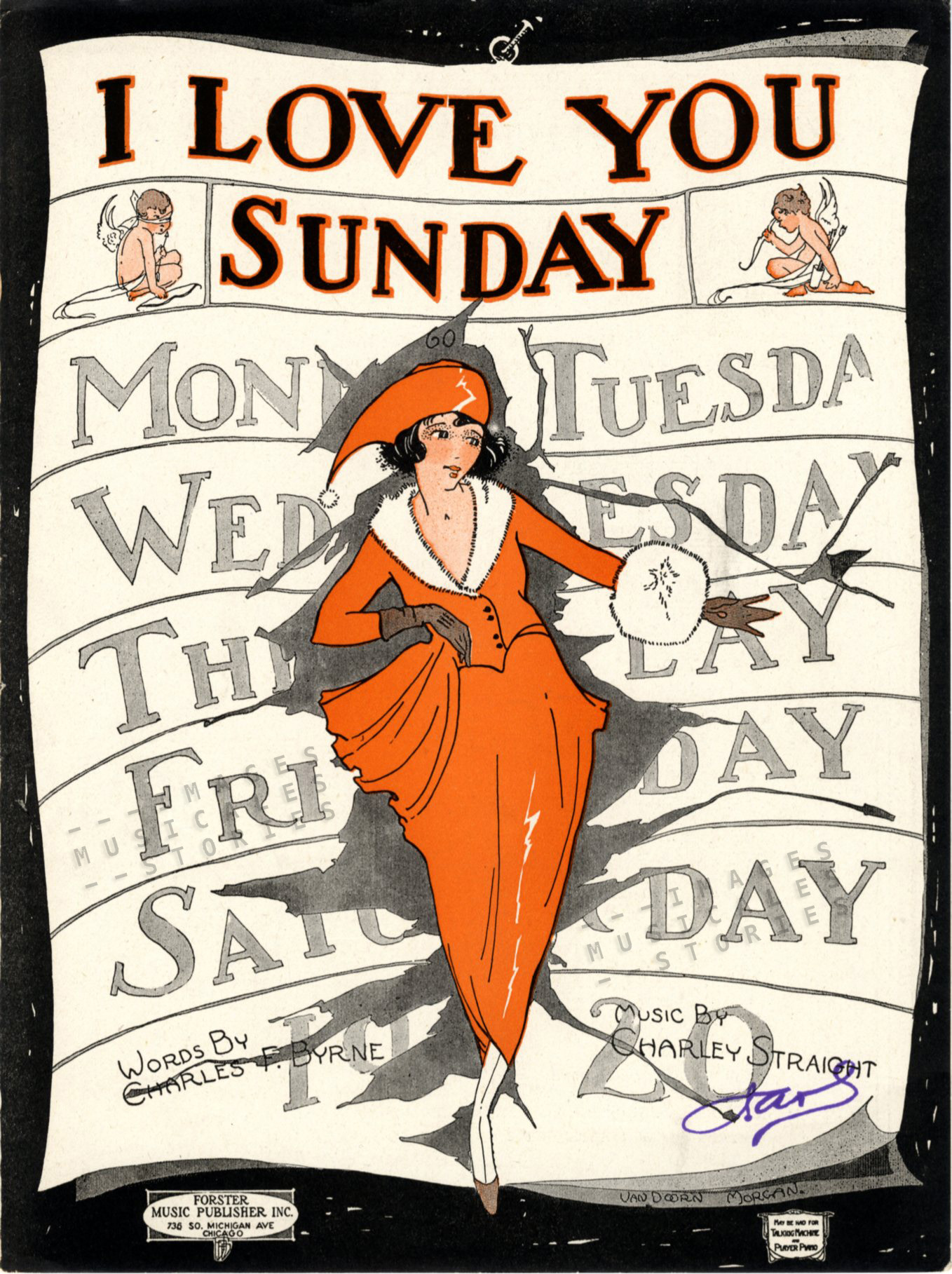 I Love You Sunday, sheet music illustrated by Helen Van Doorn-Morgan
