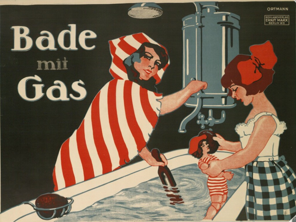 "Poster designed by W. Ortmann: ""Bade mit Gas"" (ca 1910)"
