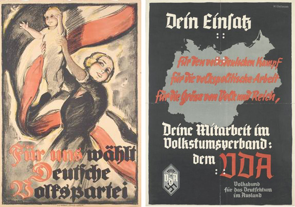 Two propaganda posters by Ortmann, 1920 (left) and +/- 1933 (right)