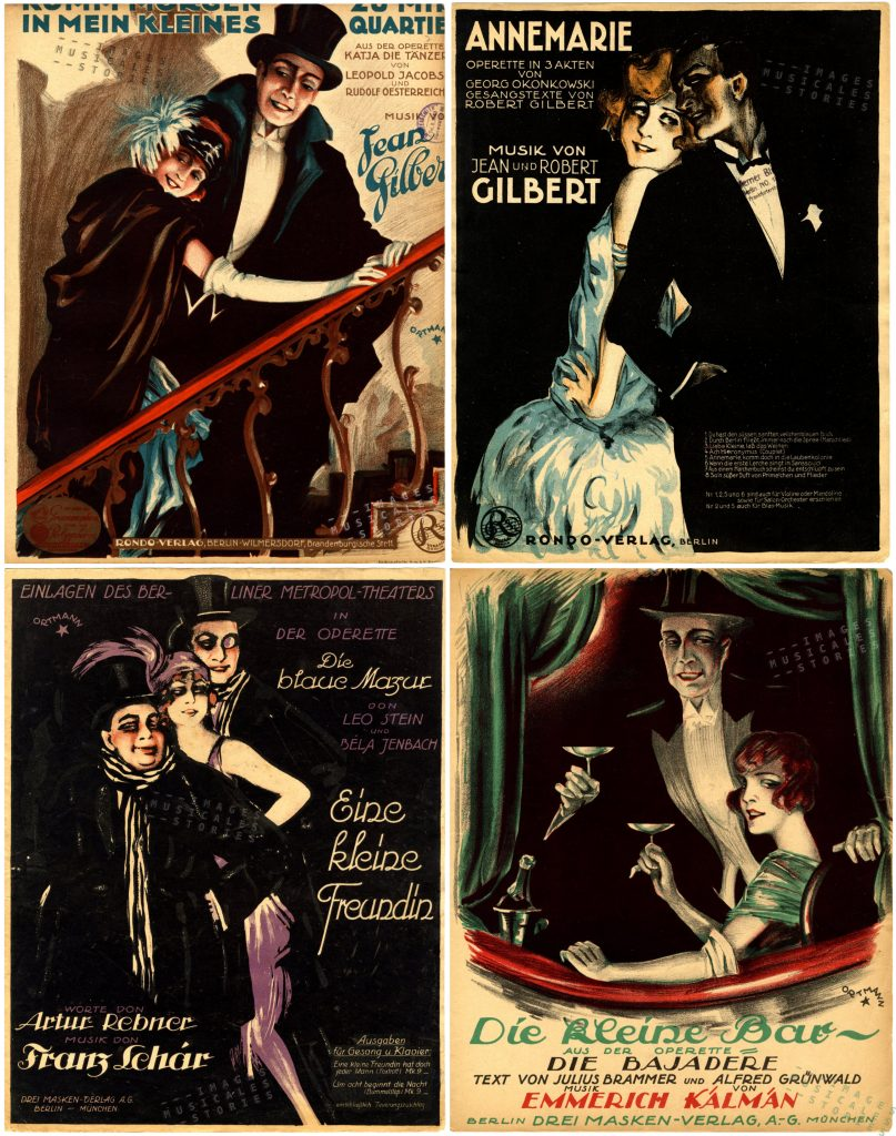 A selection of sheet music covers illustrated by W. Ortmann from the Twenties