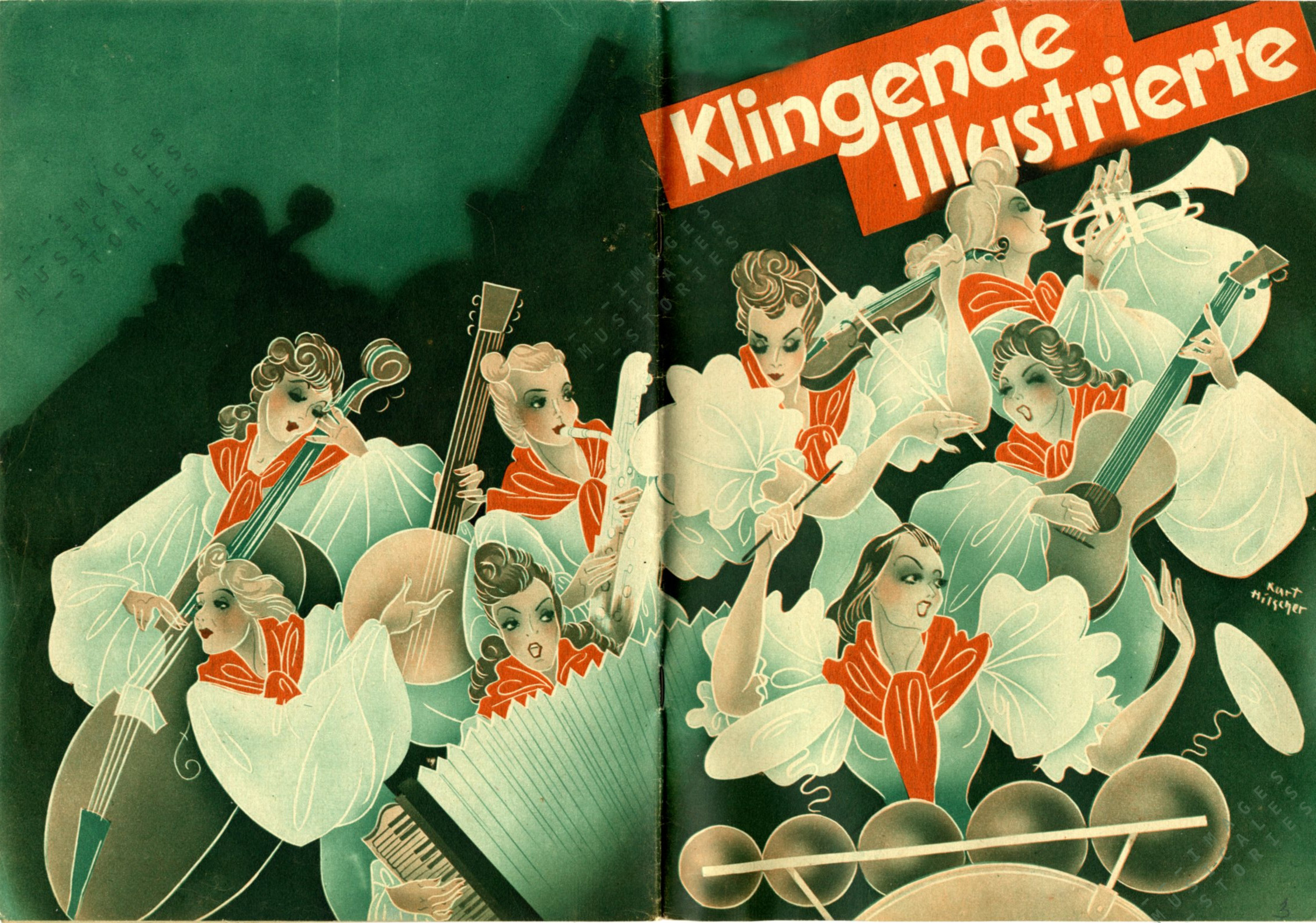 'Klingende Illustrierde', music by various composers (Curtius, Berlin, 1943, illustrated by Kurt Hilscher) Click image to enlarge