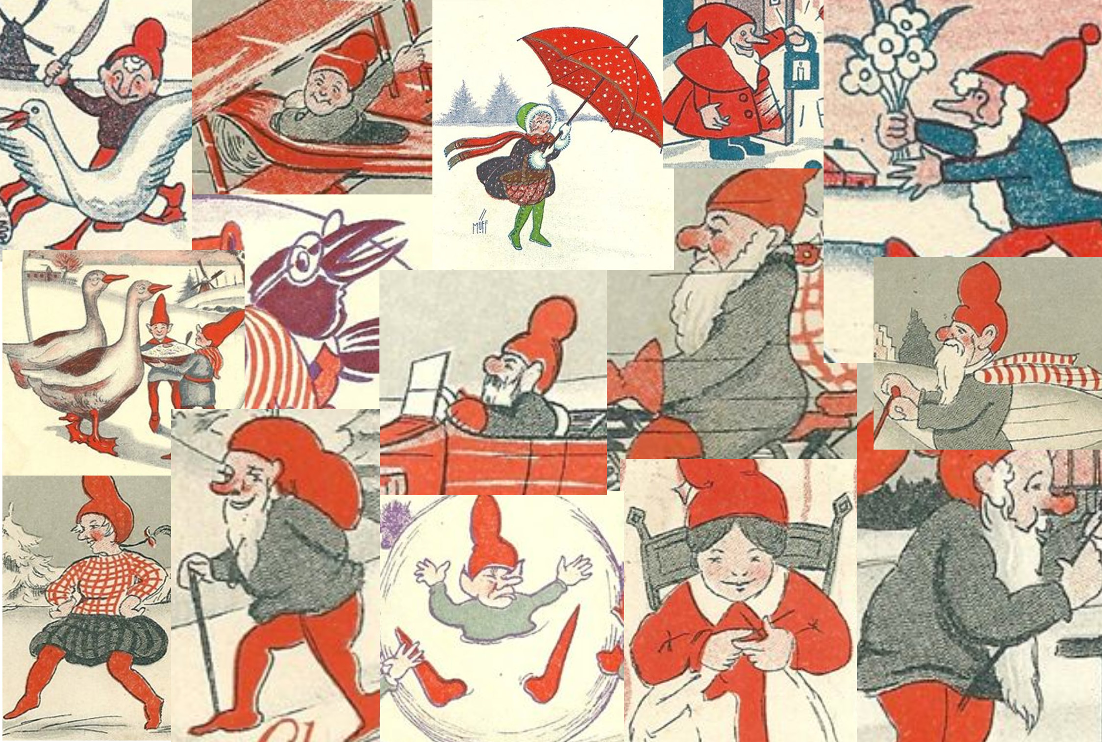 Collage of Muff's themes if Christmas postcards.
