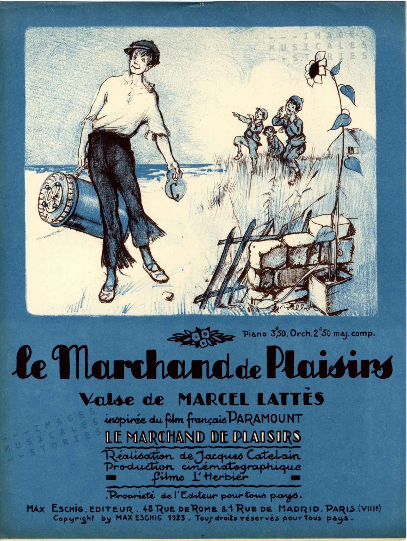 'Le Marchand de Plaisirs', partition musicale illustrée par Poulbot