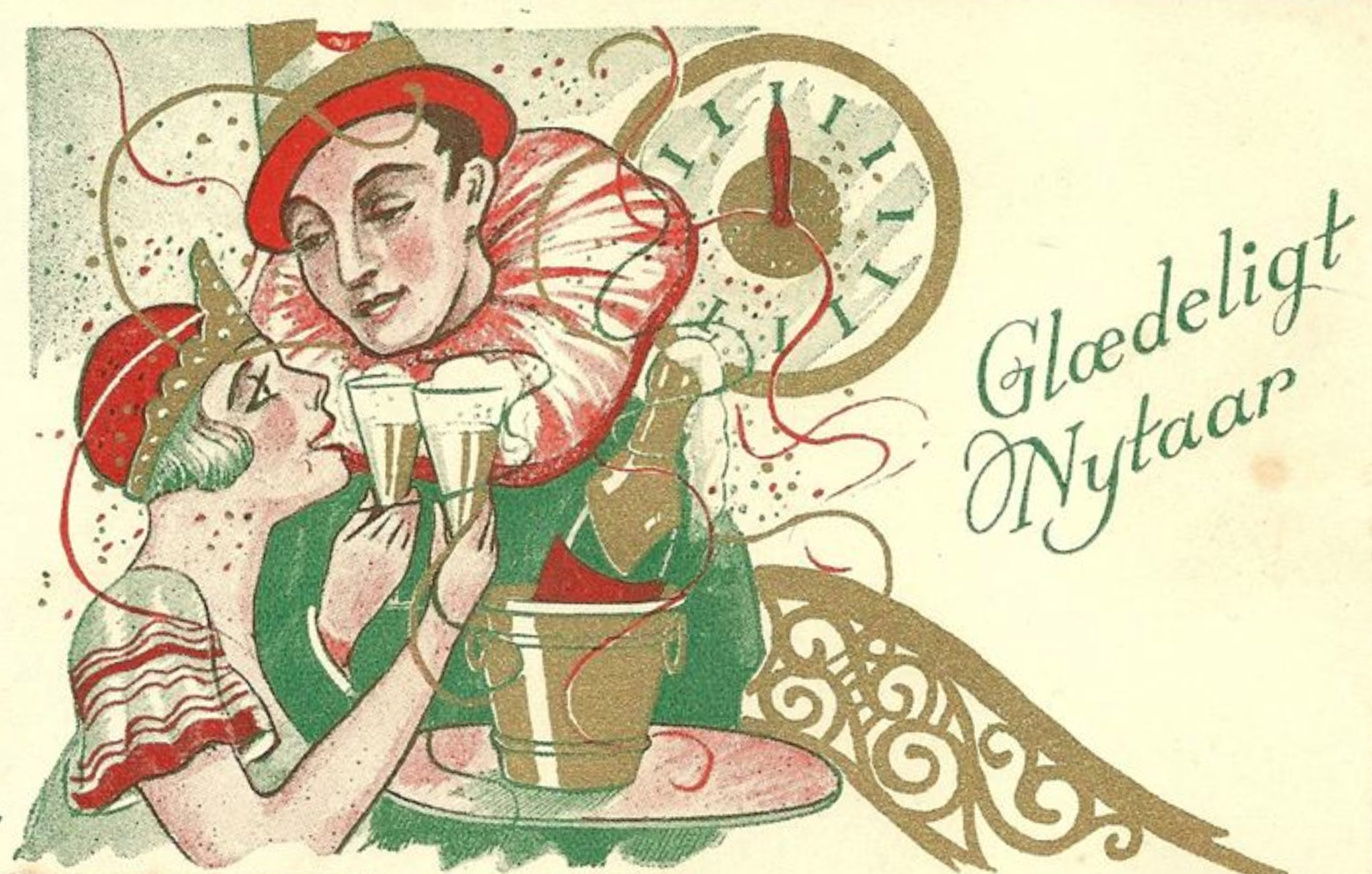 Happy New Year postcard, illustrated by Orla Muff.