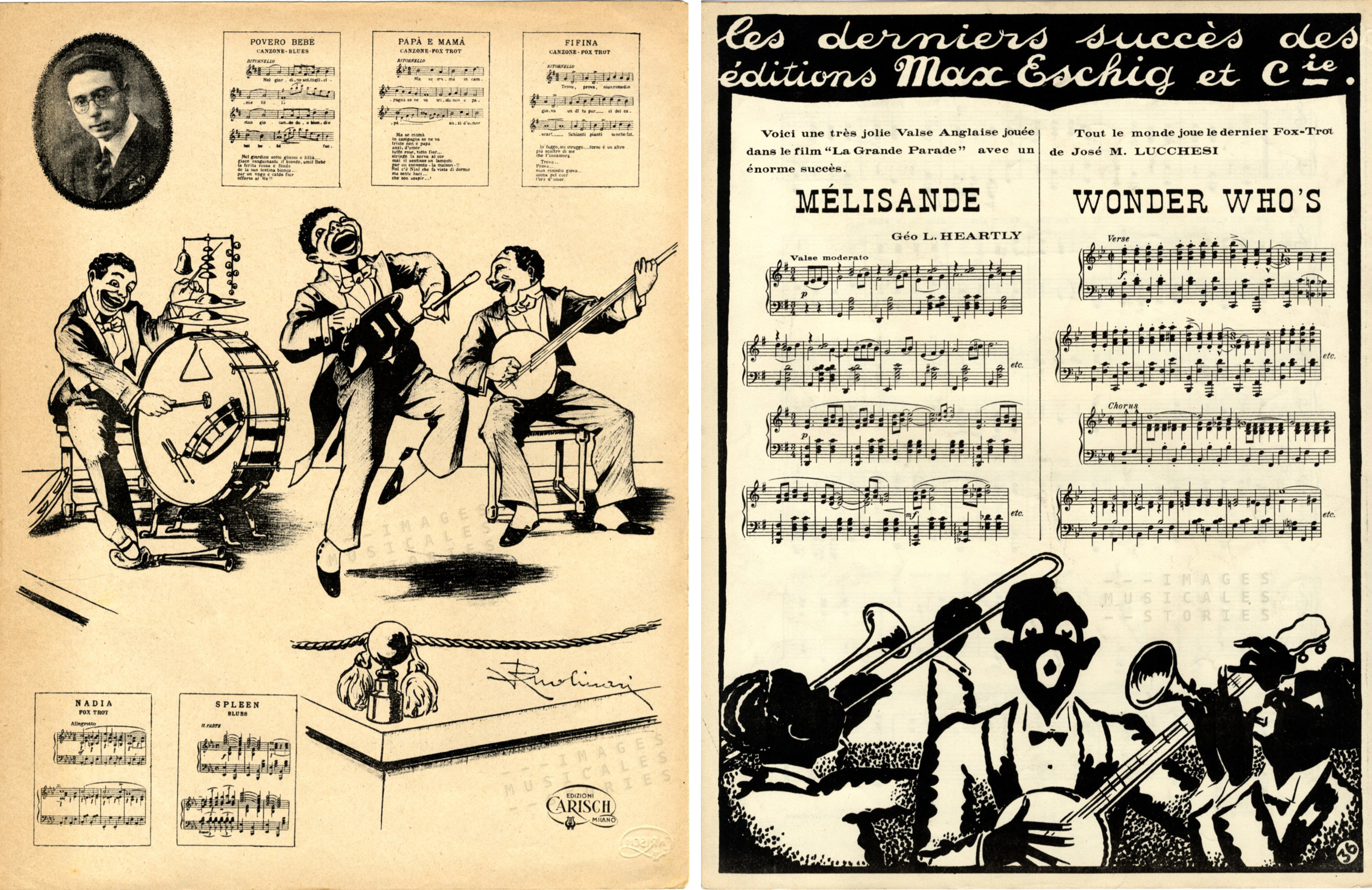 Also the Italian publisher Carisch & C. and the French Max Eschig used to promote their offer of sheet music on the back cover. On the left a lively jazzband drawn by Ruolinari (s.d.), on the right another jazzband with stereotyped black musicians (illustrator and date unknown).
