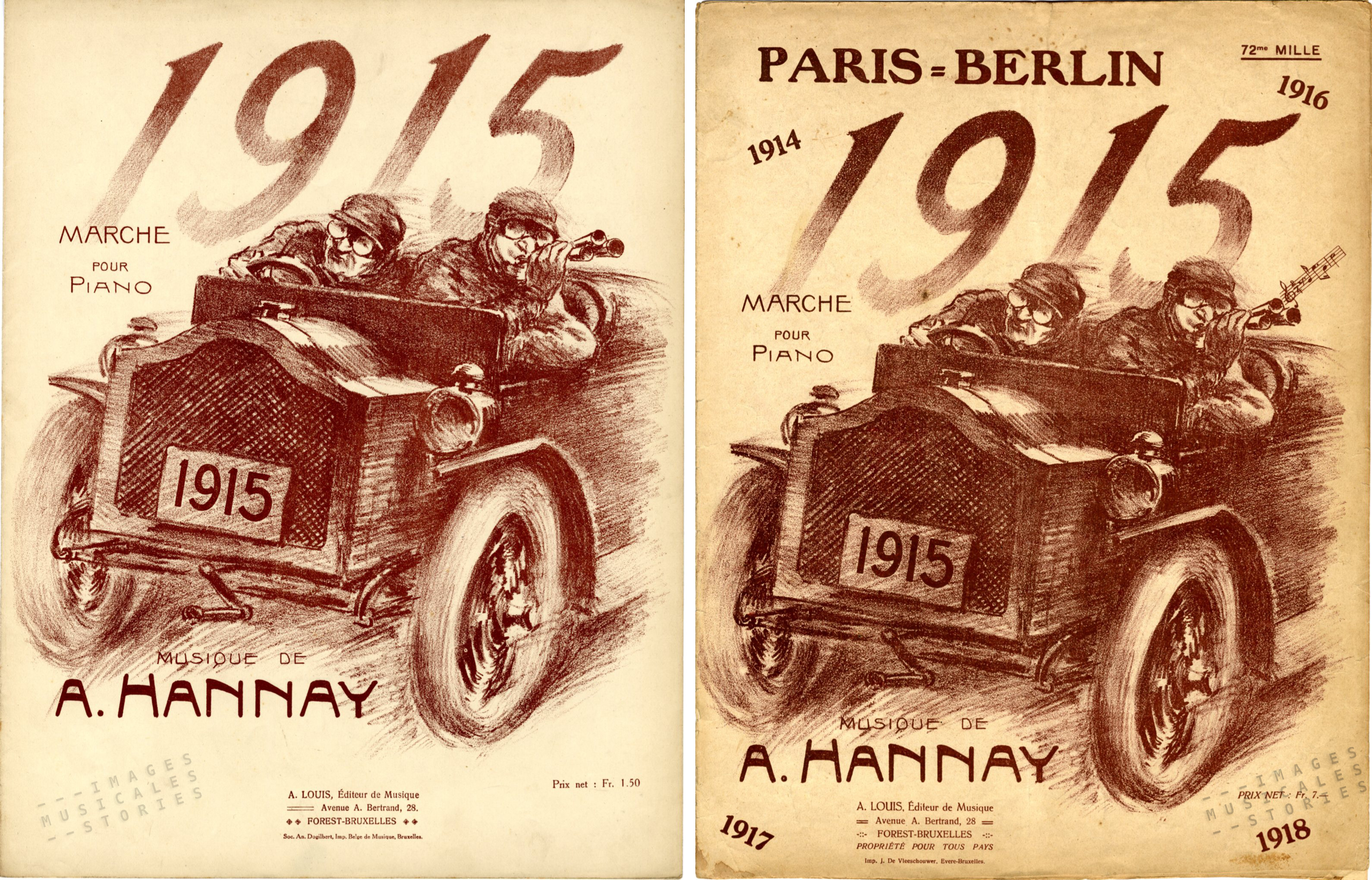 'Paris-Berlin, 1915' sheet music, march by A. Hannay (partition illustrée)