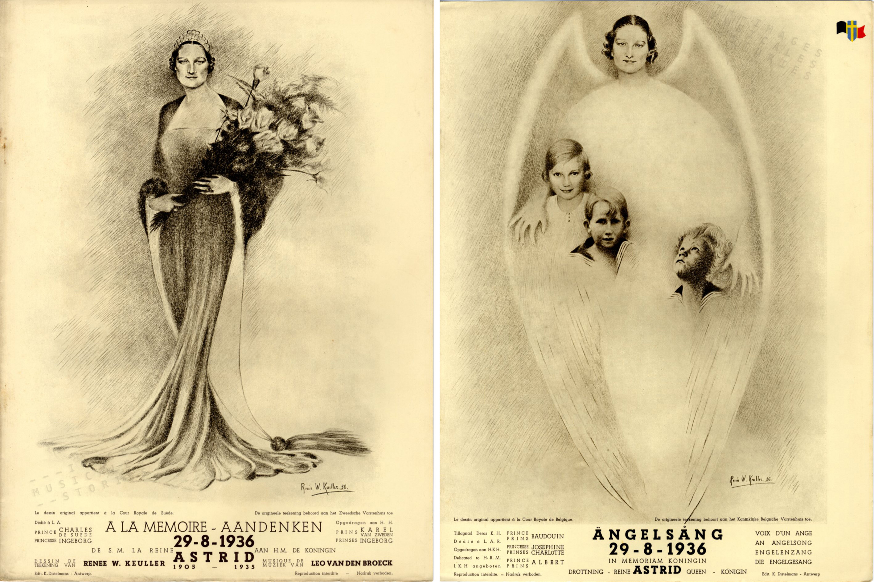 Sheet Music illustrated by R. Keuller (Reine Astrid, partition illustrée par Renée Keuller)