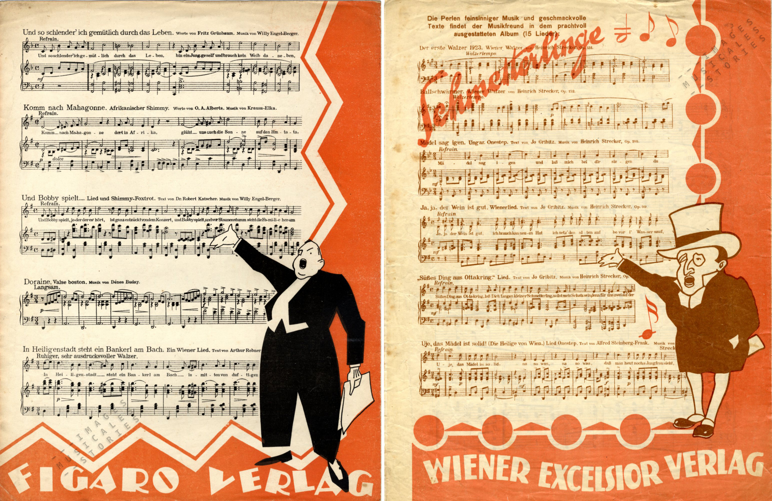 Two very similar back covers using a stage announcer (or singer?). Figaro Verlag on the left, and Wiener Excelsior Verlag on the right (both unsigned, s.d.)