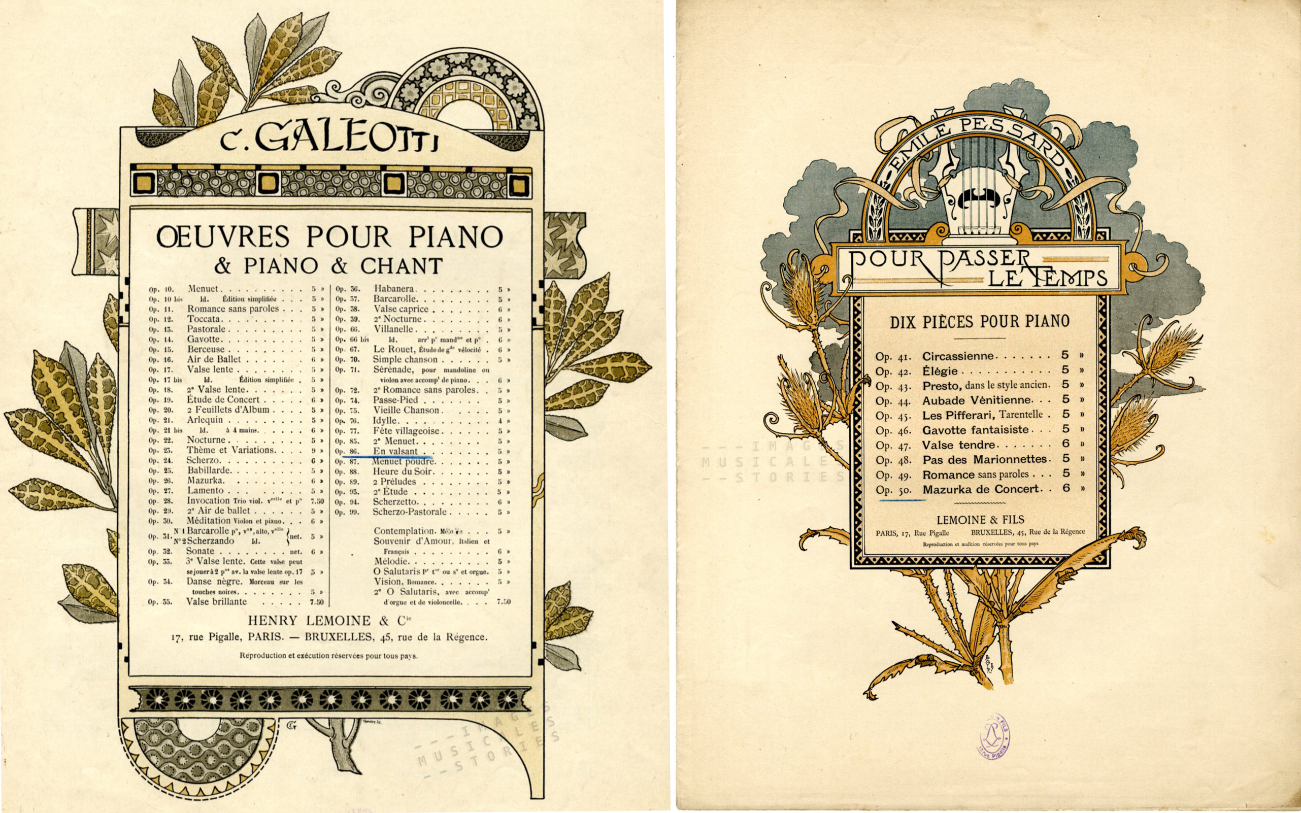 Illustration by Eugene Grasset and Adolphe Giraldon (sheet music; partitions musicales)