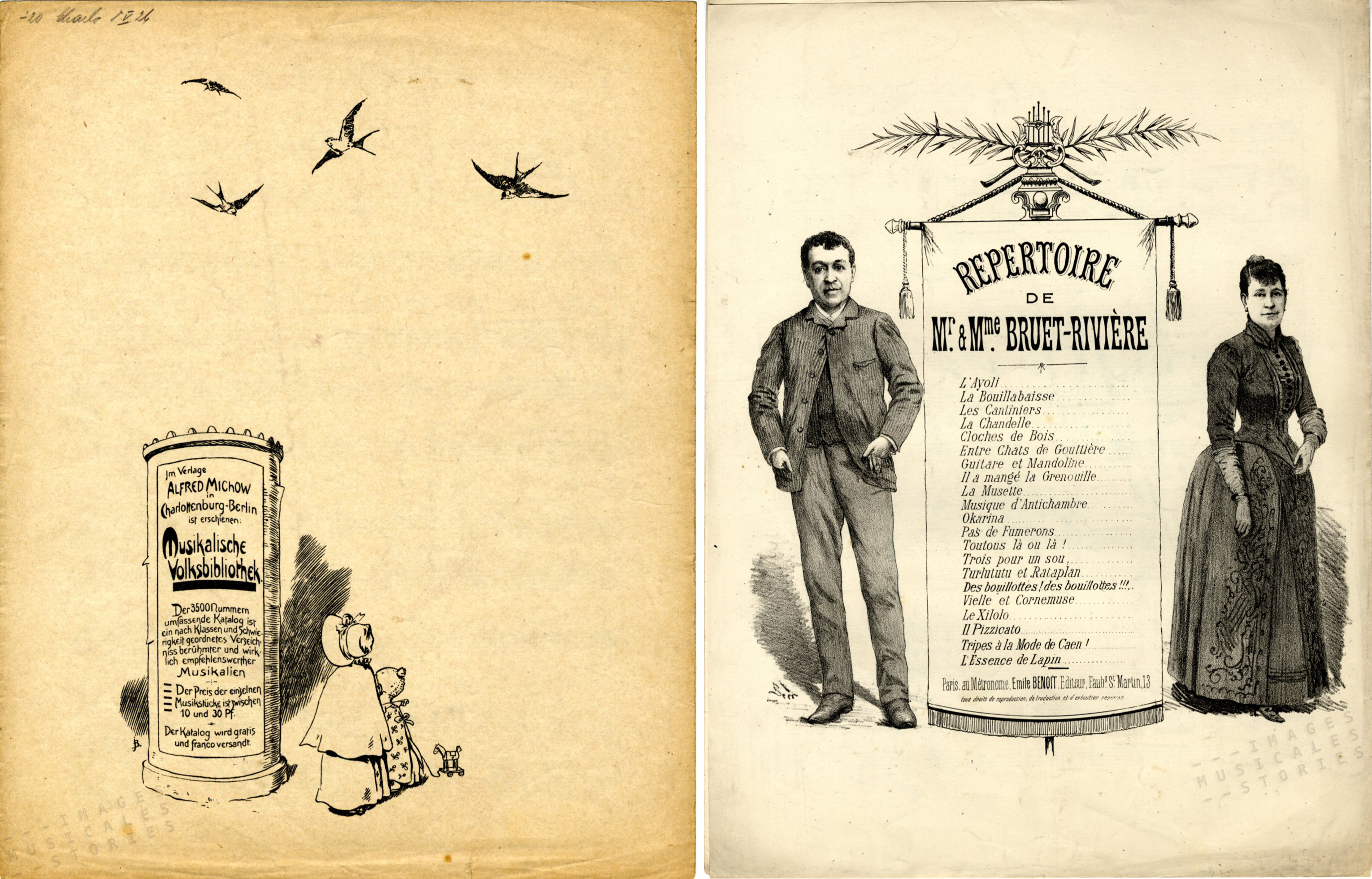 Late 19th-century illustrated catalogs from Musikalische Volksbibliothek (Berlin) and from Emile Benoit (Paris)