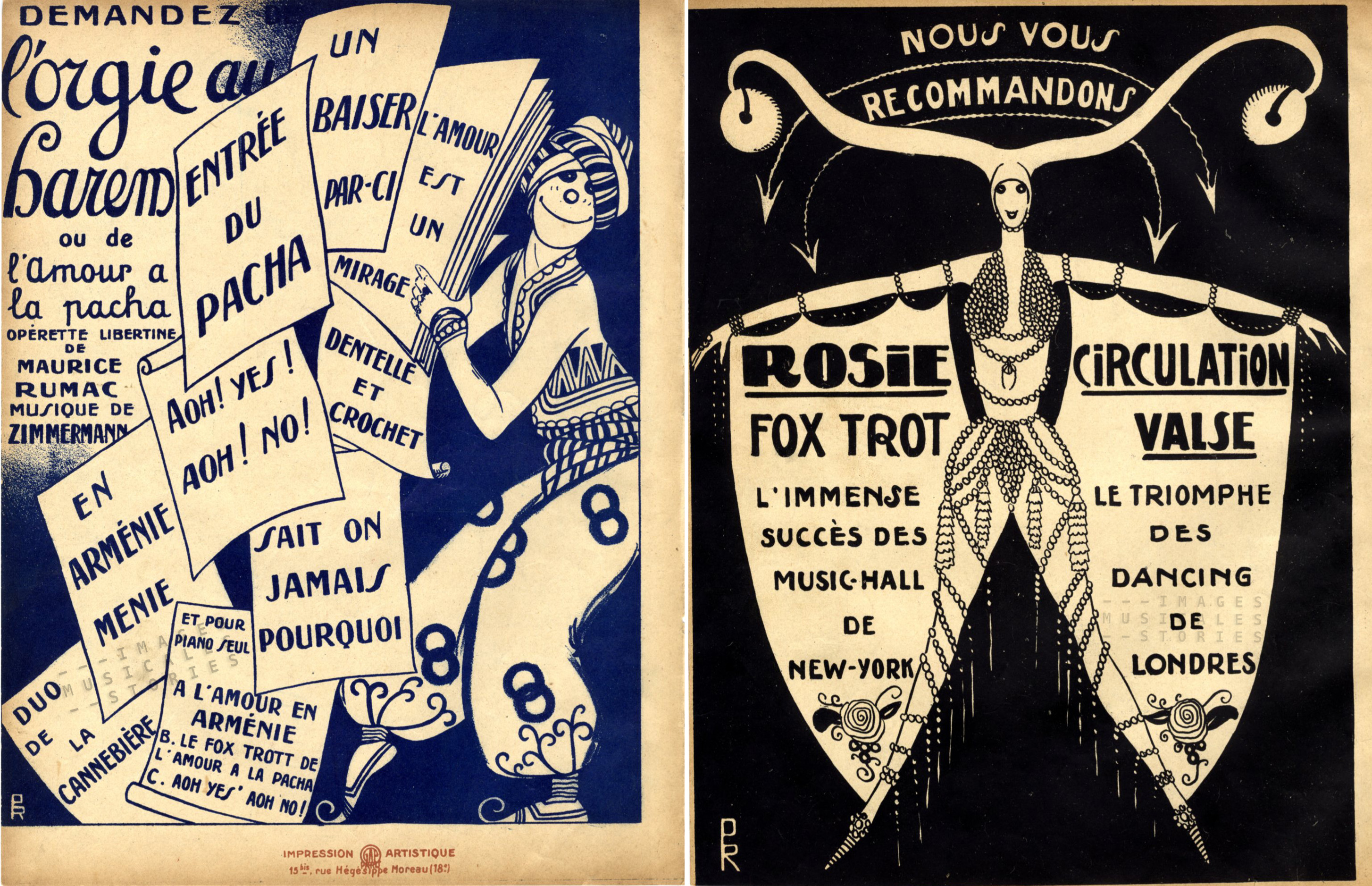 Two back covers illustrated by cartoonist Pol Rab, for publishers Pêle-Mêle (left) and Maillochon (right).