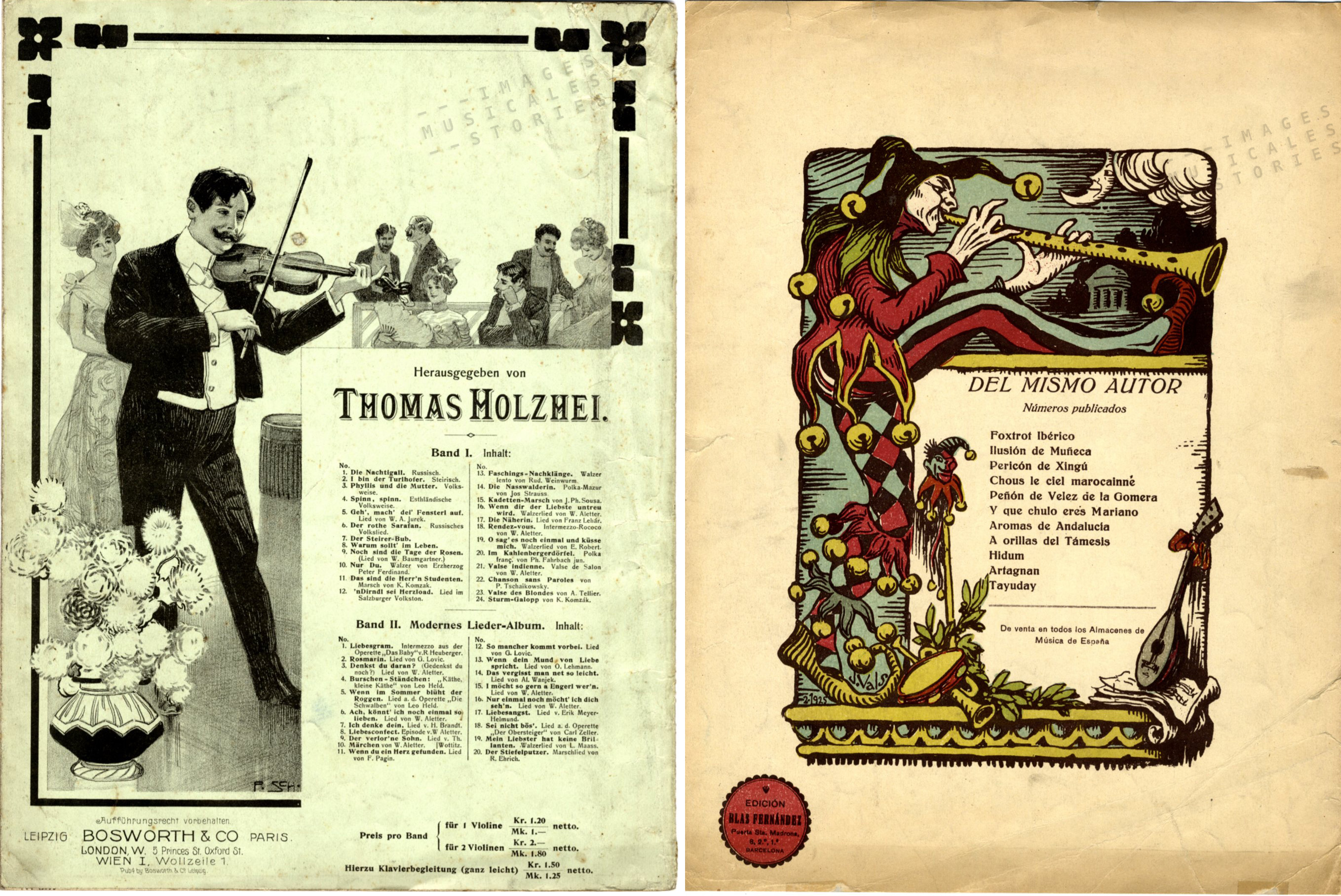 Back covers of sheet music illustrated by P. Schumann and J. Vals