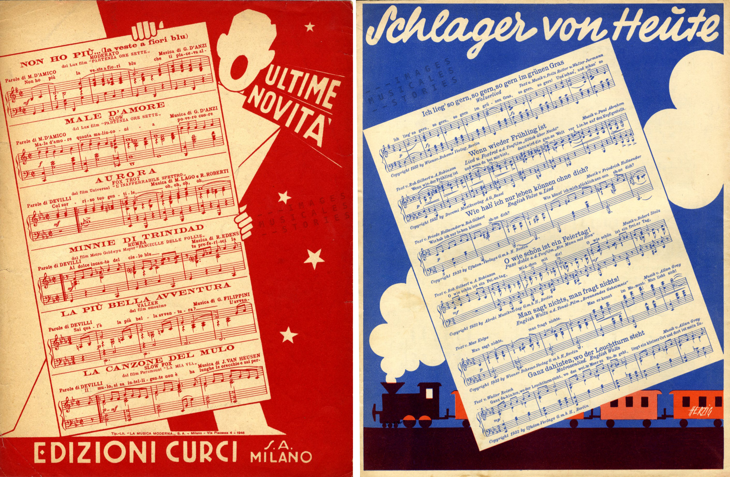Two similar announcements on the back covers of Edizioni Curci (on the left, unknown illustrator) and UFATON Verlag (right, illustrated by Herzig, s.d.).