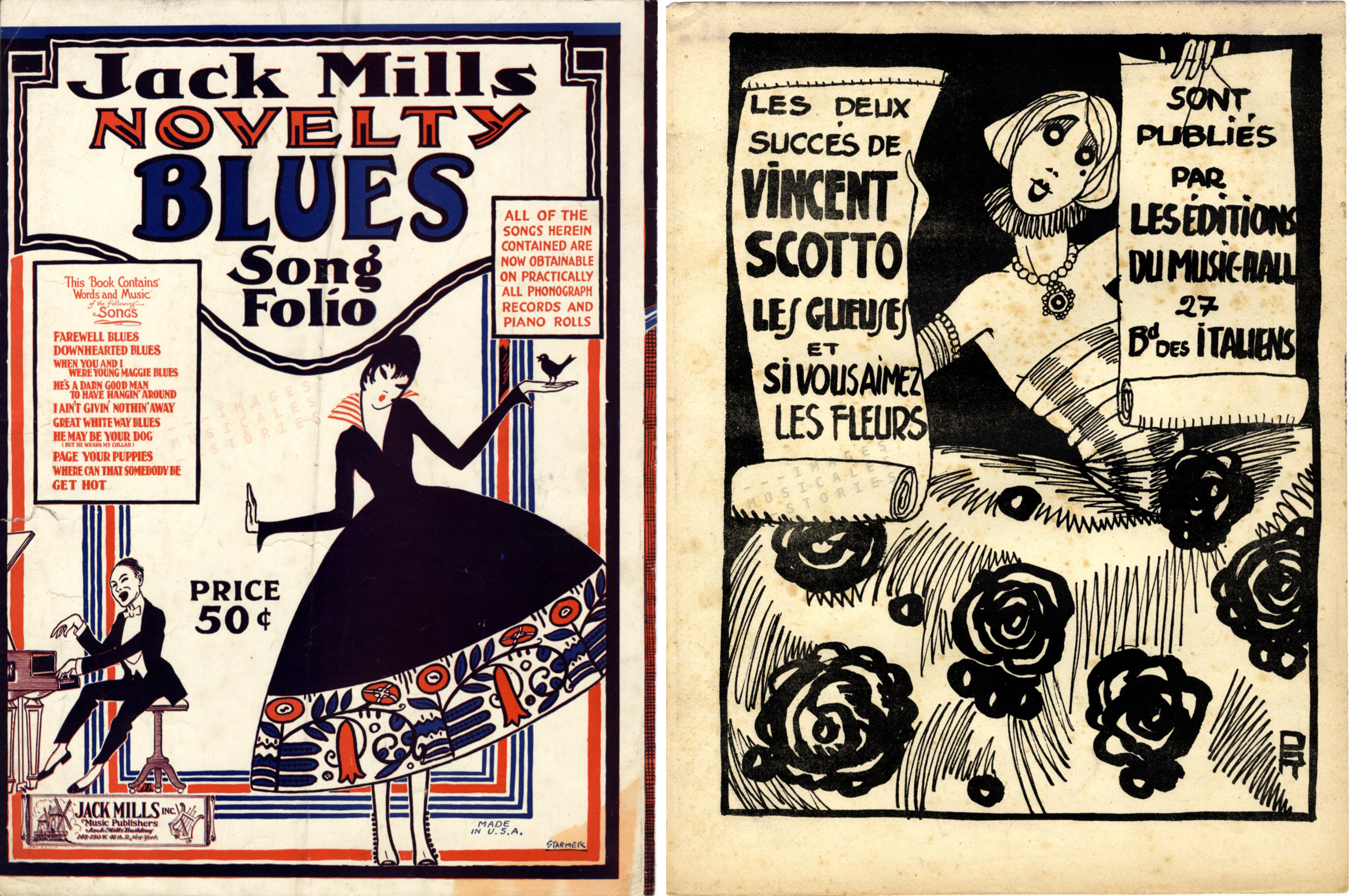 On both these back covers women in festive dress are charming us in viewing the music catalogs of publishers Jack Mills (left, illustrated by the Starmer brothers) and Les Editions du Music-Hall (right, illustrated by Pol Rab)