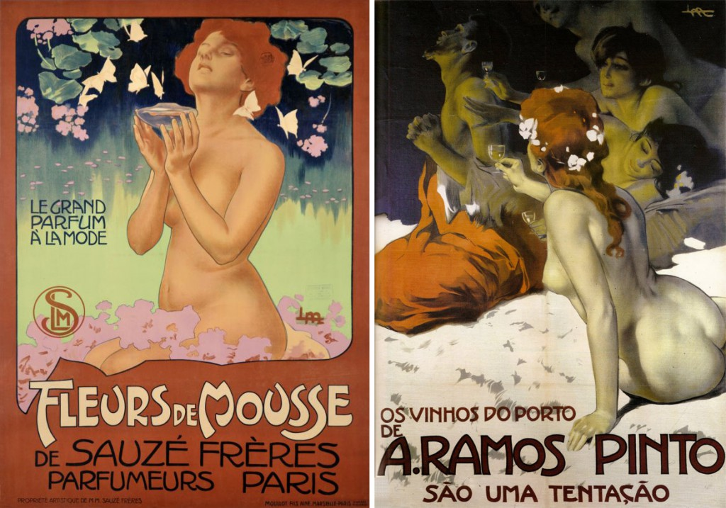 Publicity posters by Leopoldo Metlicovitz, 1898 (left) and 1915 (right).