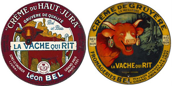 On the left, the cheese box as originally illustrated by Léon Bel. Right, the complete design makeover by Benjamin Rabier.