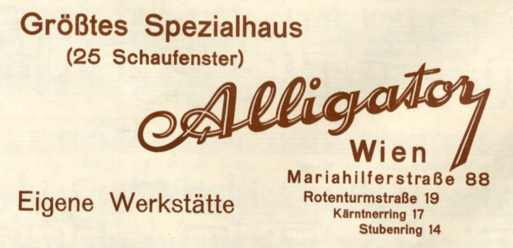 Beim Alligator in Wien, label on back cover of sheet music