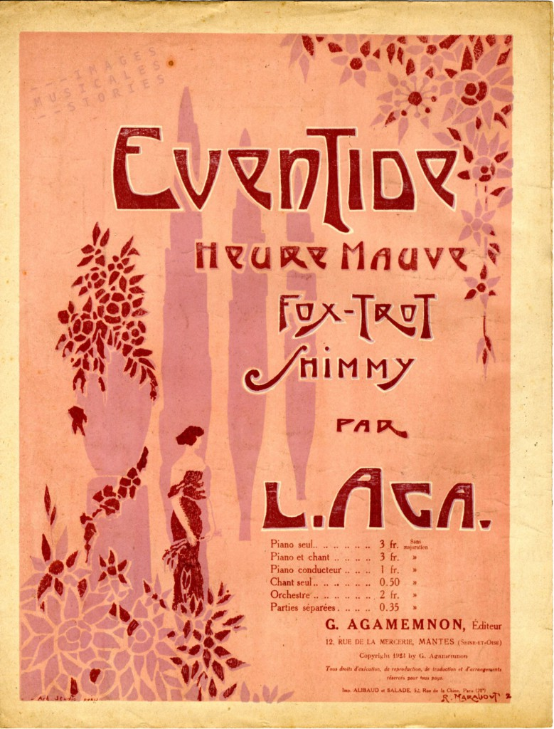 Sheet Music cover for Eventide - l'Heure Mauve', a fox-trot shimmy by L. Aga,