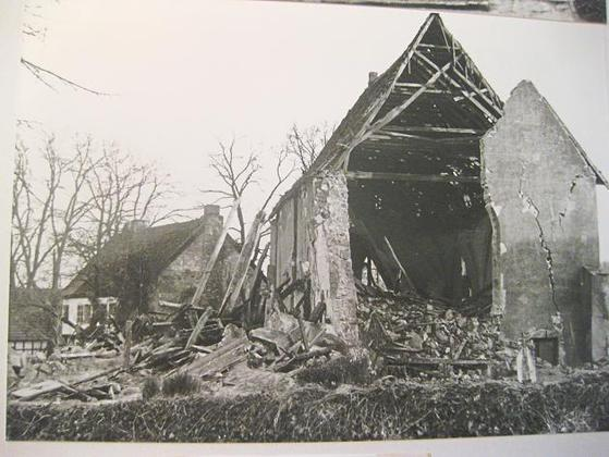 The damaged church of Leeden after the bombing on the night of the 7th of February 1945.