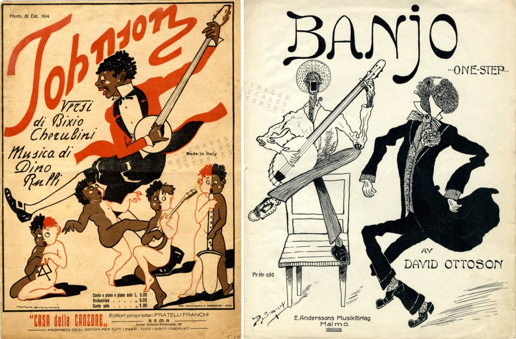 Sheet music covers with frantic banjo  dancing.