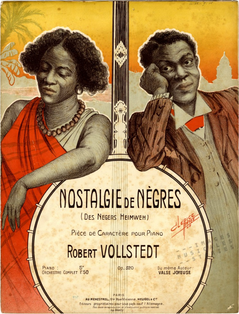 Sheet music cover 'Nostalgie de Nègres (Des Negers Heimweh)', illustrated by Clérice frères