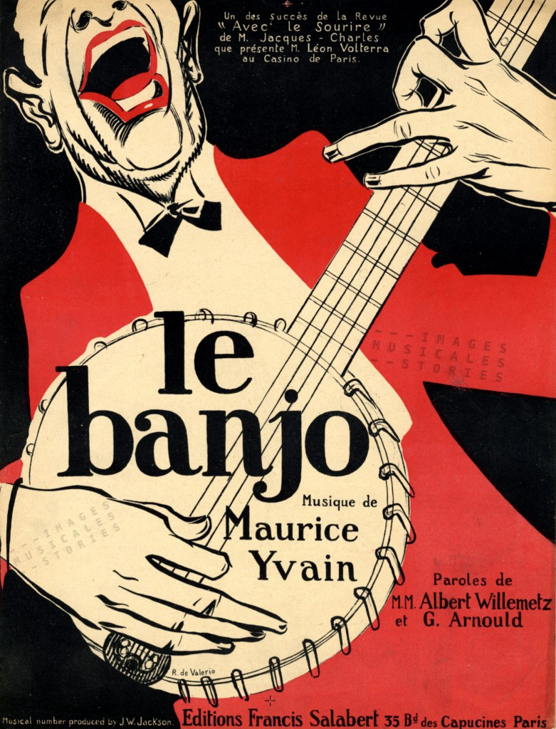 Sheet music cover for 'Le Banjo', illustrated by R. de Valerio
