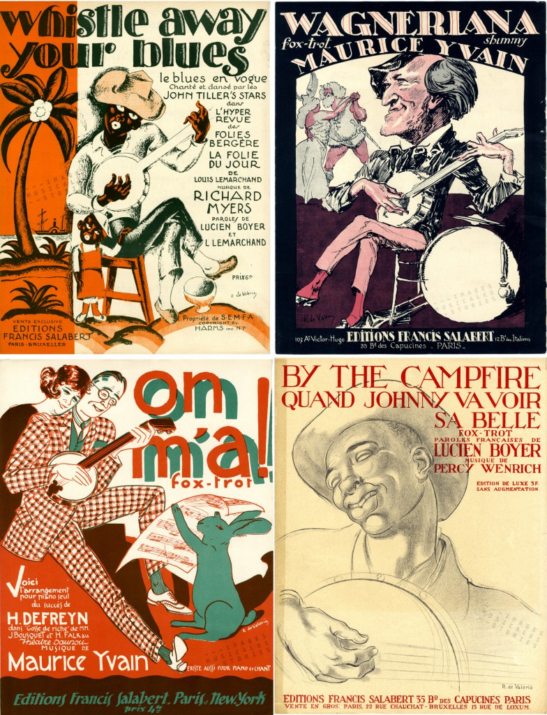 Four sheet music covers illustrated by De Valerio