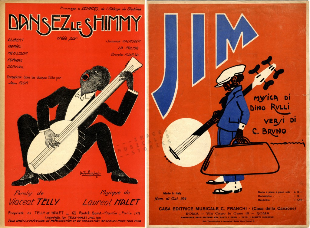 Caricatures of banjo players on sheet music covers (illustrated by Girbal and Monni)