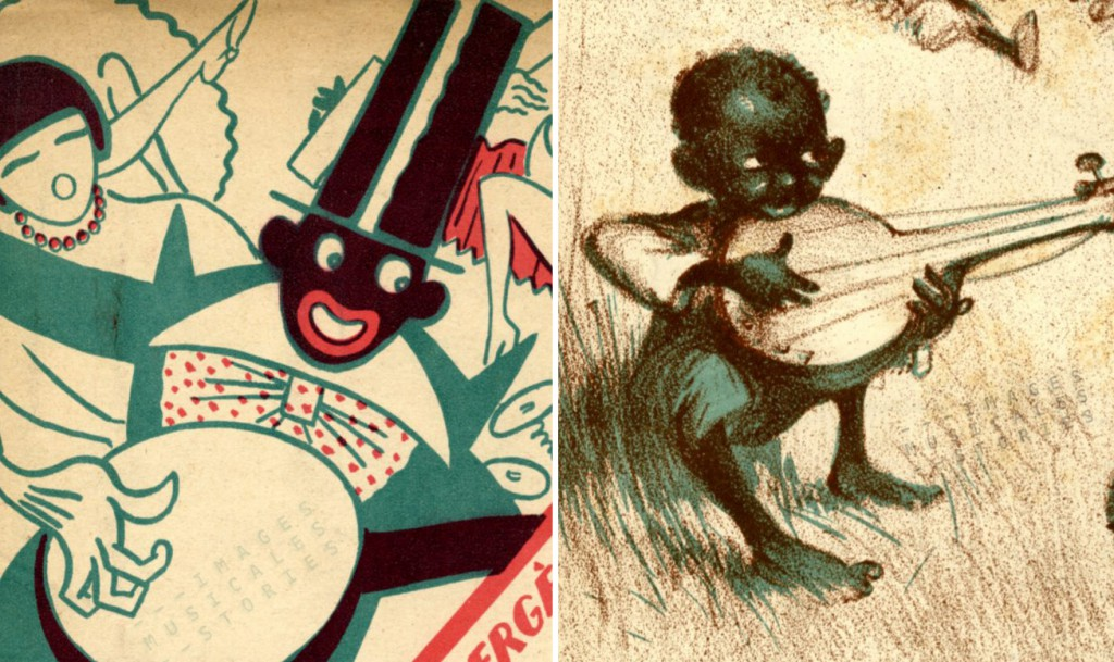 Banjo illustrations on various sheet music covers (by Girbal and Poulbot).