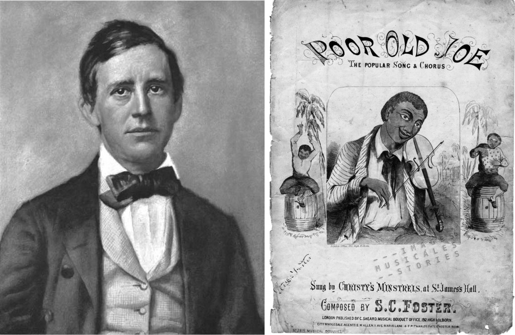 Portrait of Stephen Collins Foster, with a cover  of the 'PoorOld Joe' sheet music (www.imagesmusicales.be)
