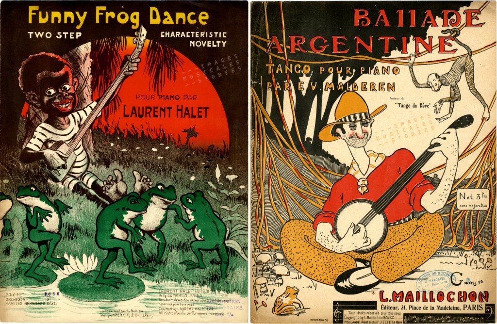 Two sheet music covers of banjo players (www.imagesmusicales.be)