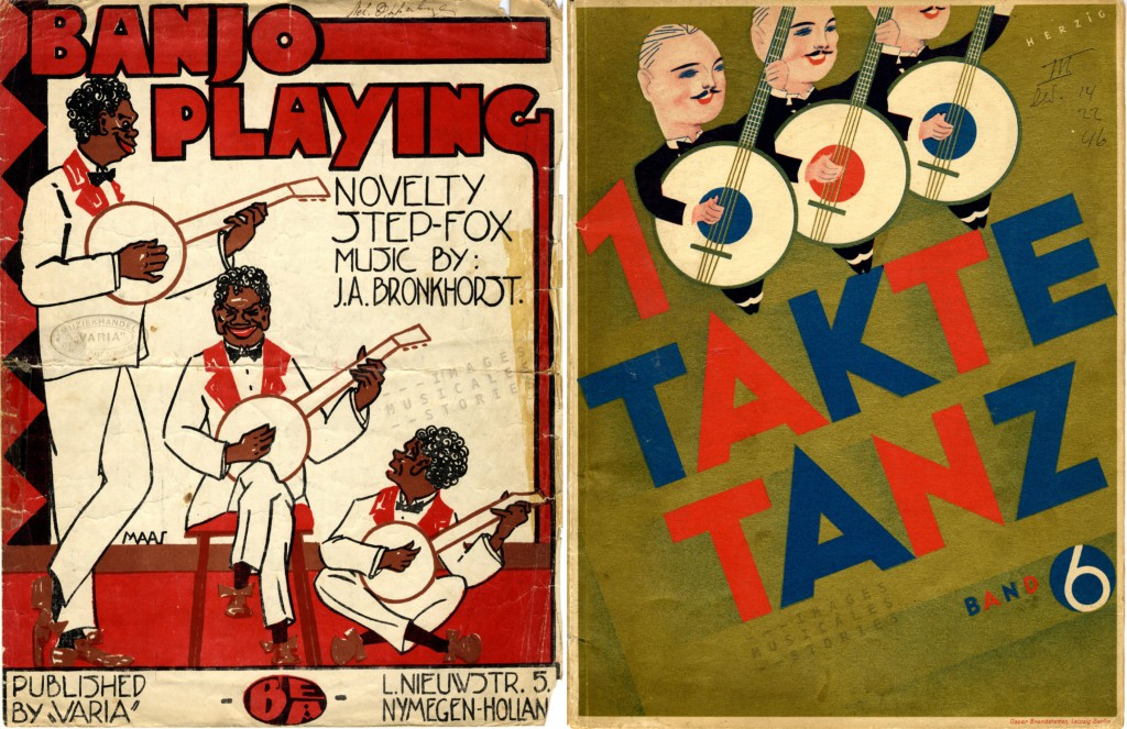 Trios of banjo players. Two sheet music covers illustrated by Maas and Herzig.