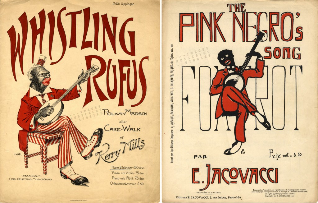 Two sheet music covers with sitting banjo players