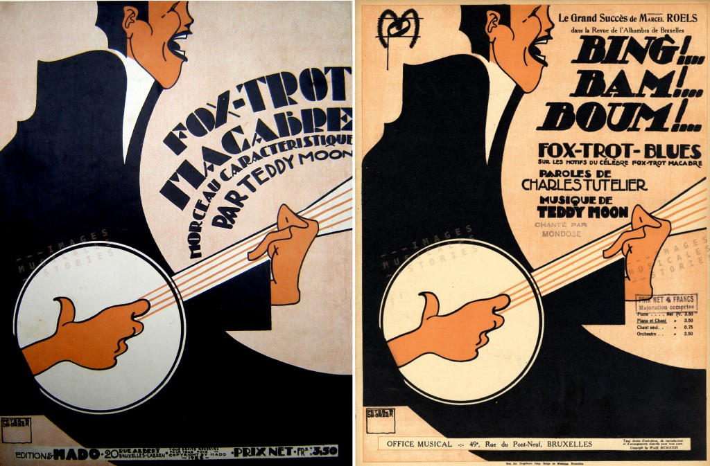 Two sheet music covers of banjo players, illustrated by Peter De Greef.
