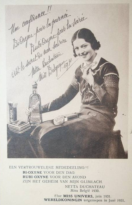 Netta Duchateau praising toothpaste and mouthwash in an advertisement for Bi-oxyne and Rubi-oxyne