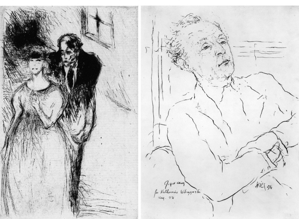 Left: illustration for 'Kyrie Eleison' by Waldemar Bonsels (1922). Right: portrait of Joyce Cary by Katerina Wilczynski, pen and ink, 1954 (National Portrait Gallery, London, 4822).