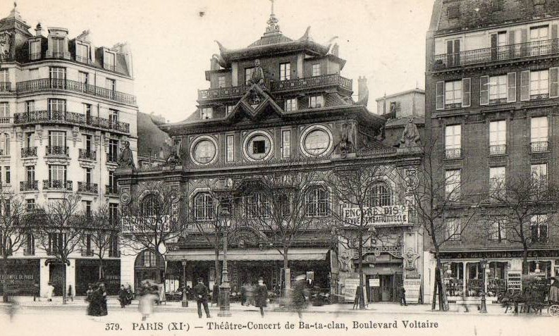 Postcard of the Ba-Ta-Clan on the Boulevard Voltaire in the Bastille quarter of Paris.