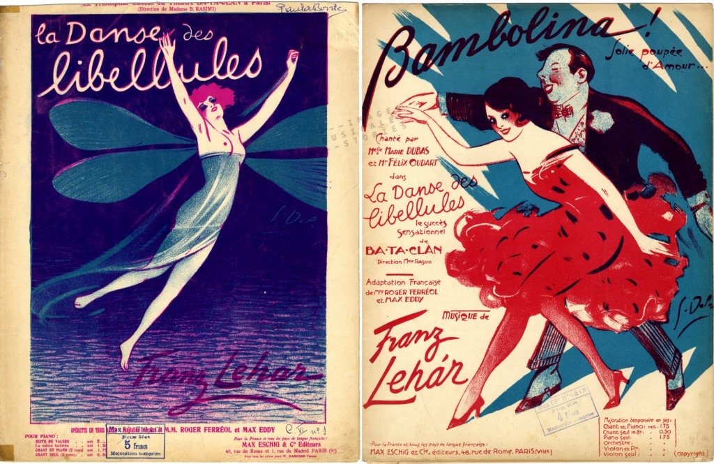 Sheet music covers illustrated by Georges Dola for 'La Danse des Libellules'.
