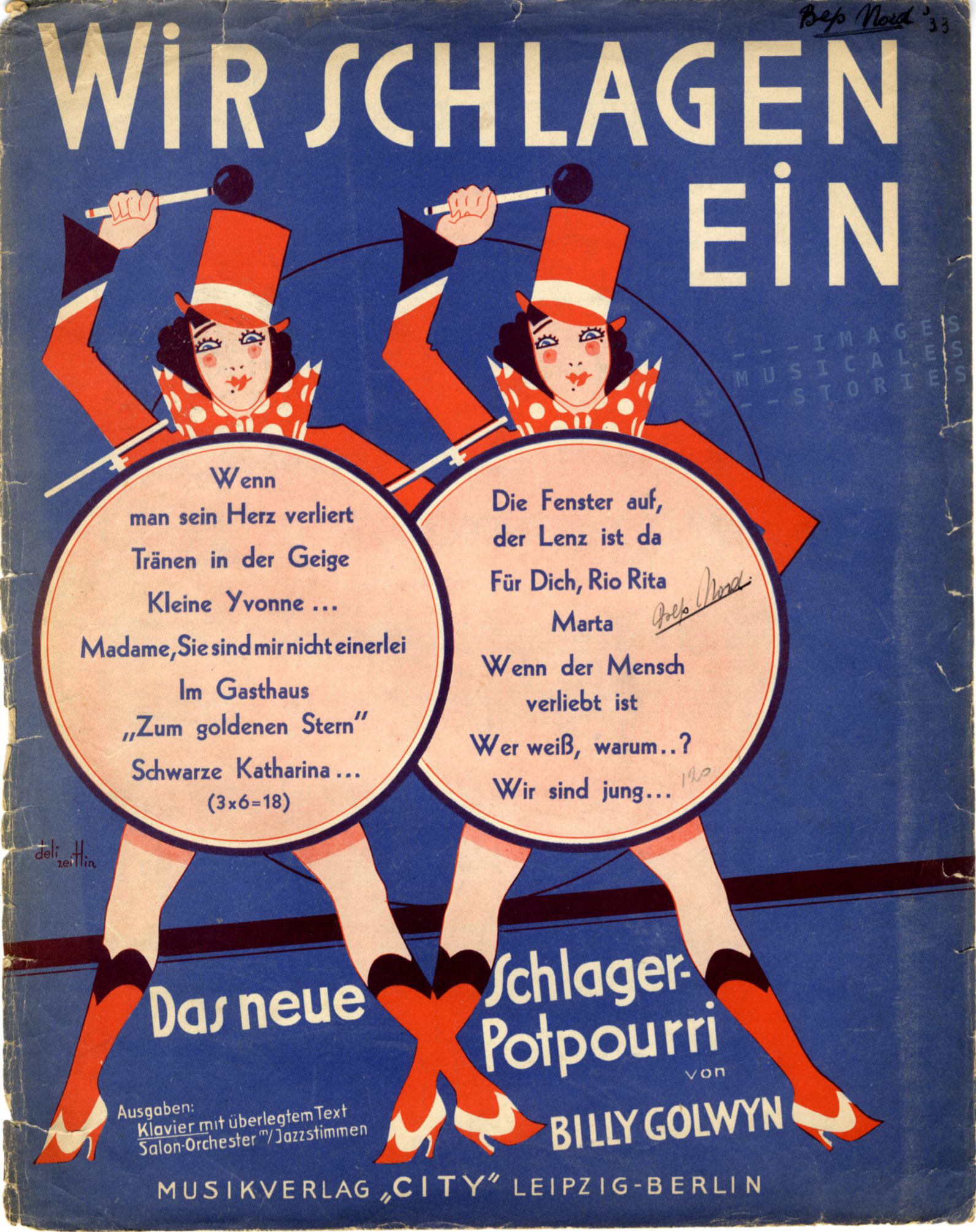 A Deli Zeitlin illustrated sheet music (partiton musicale, alte noten)