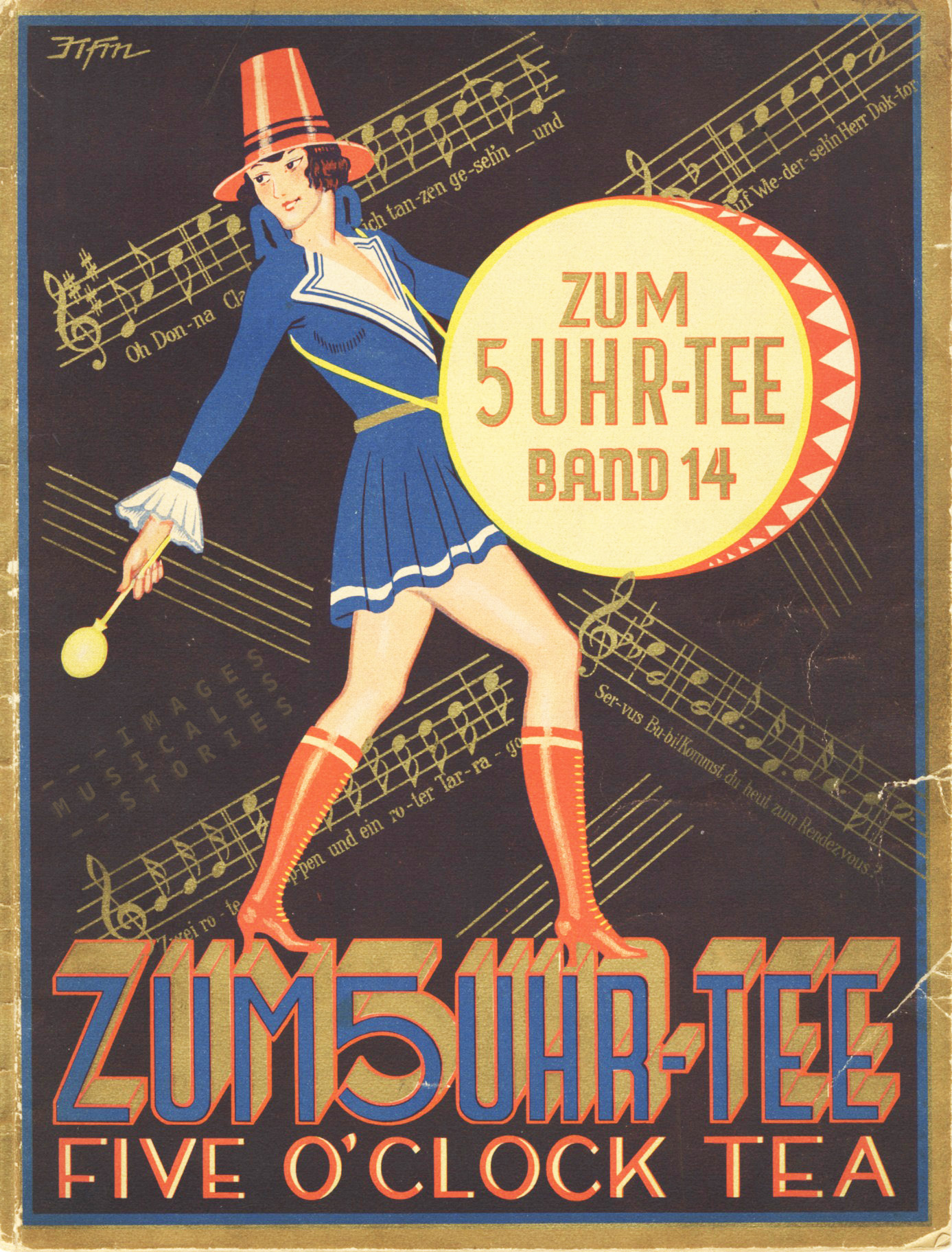 A woman banging a drum. (sheet music cover, partition de musique illustrée)