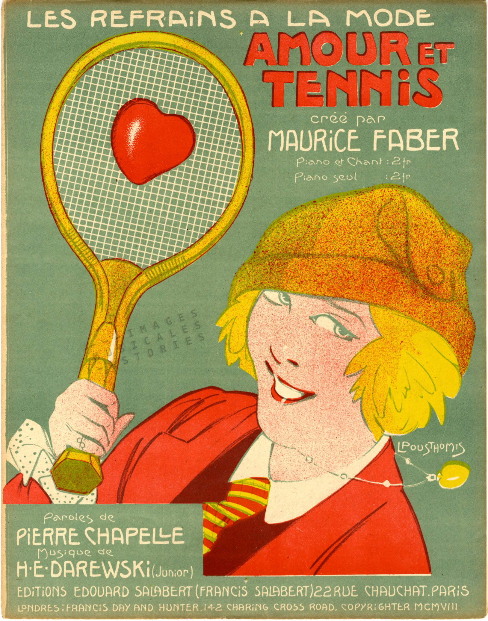 'Amour et Tennis' sheet music cover illustrated by Pousthomis