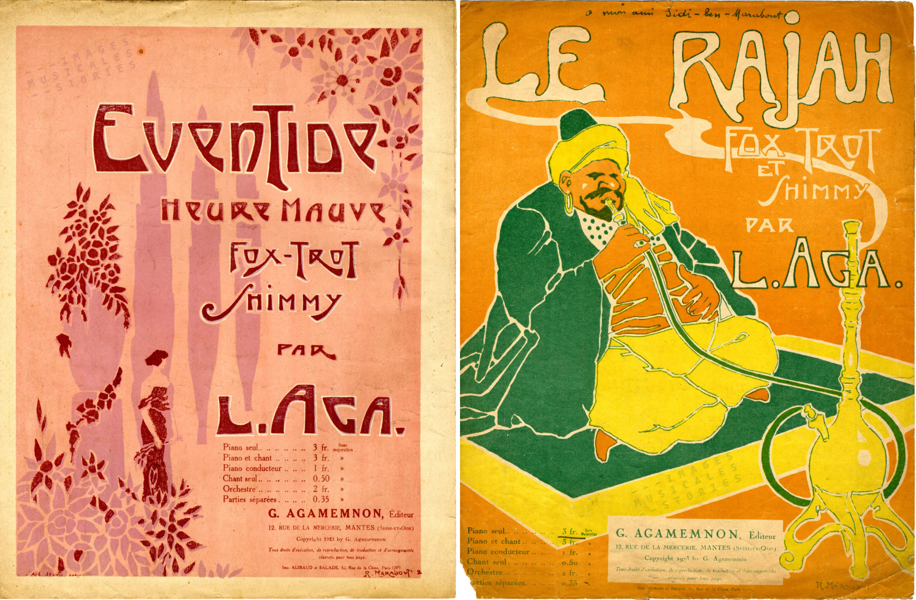 'Eventide' and 'Le Rajah' sheet music covers (partition de musique)