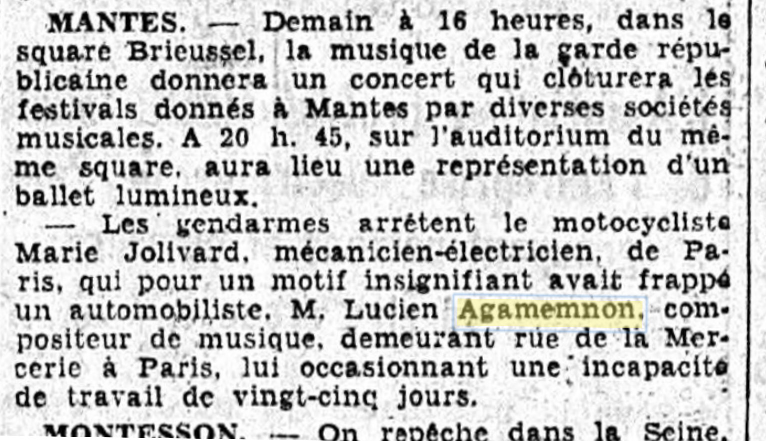 Lucien Agamemnon being victim of road rage (Le Matin, 18-09-1937).