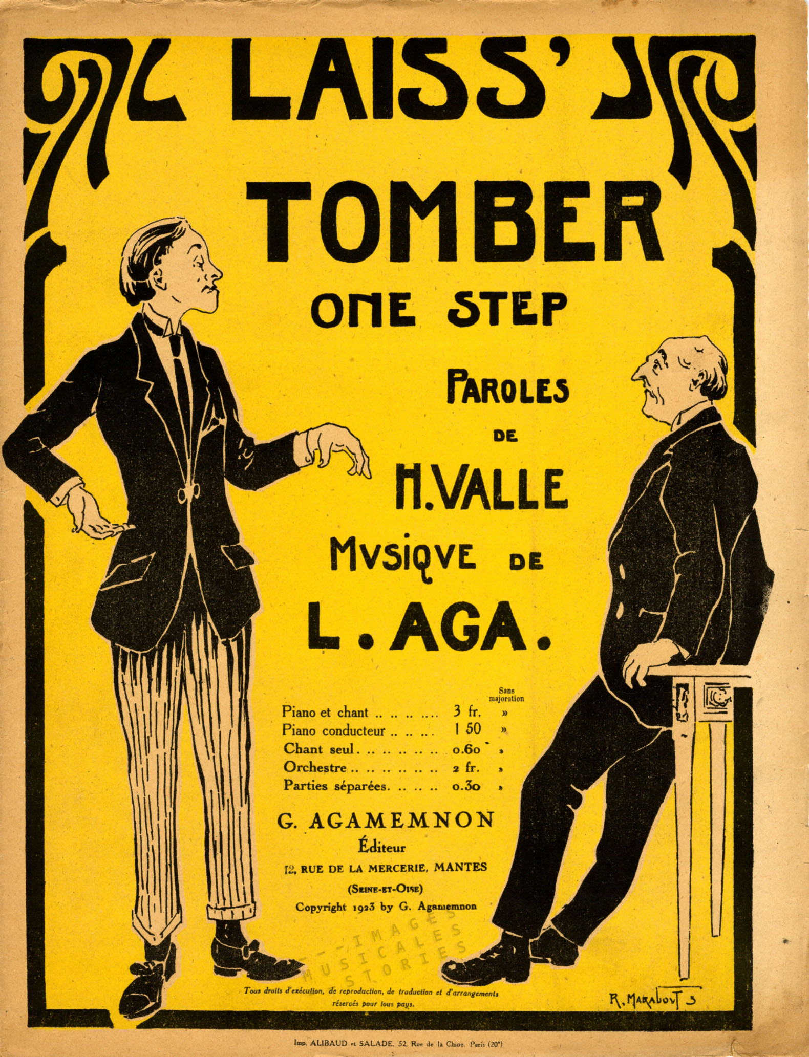 Cover of the sheet music 'Laiss' tomber', one step by L. Aga
