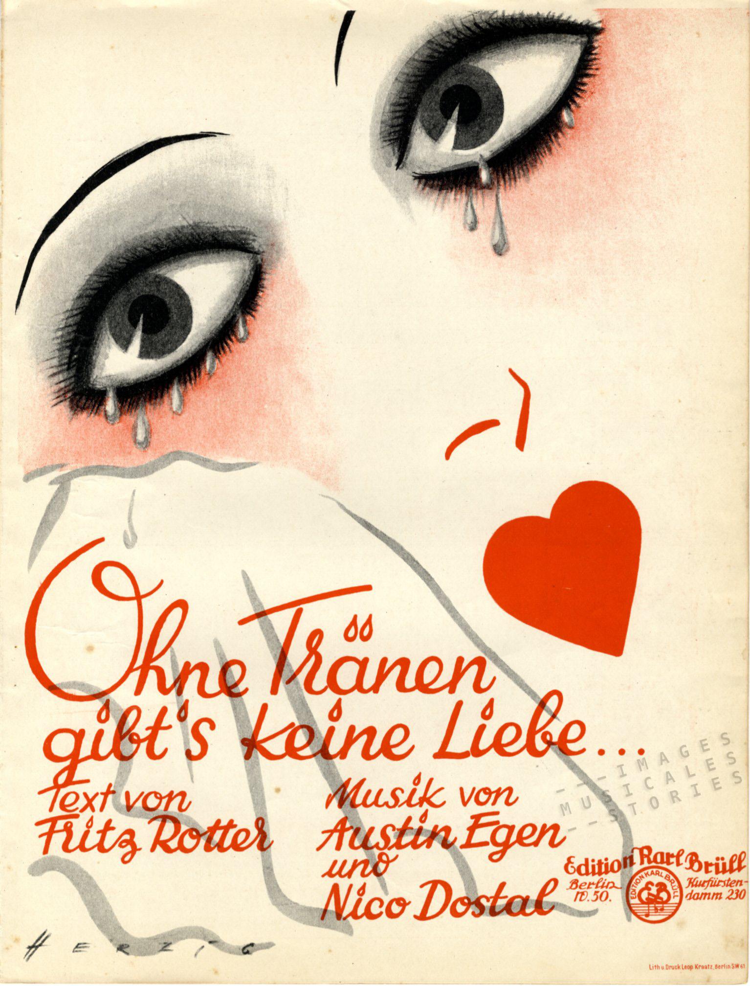 Ohne tränen gibt's keine Liebe, sheet music cover
