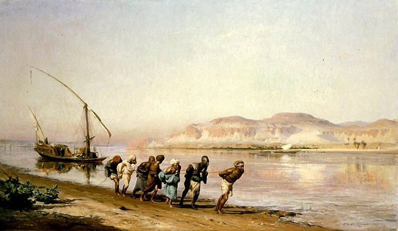 Painting by Frederick Arthur Bridgman in 1875: Towing on the Nile.