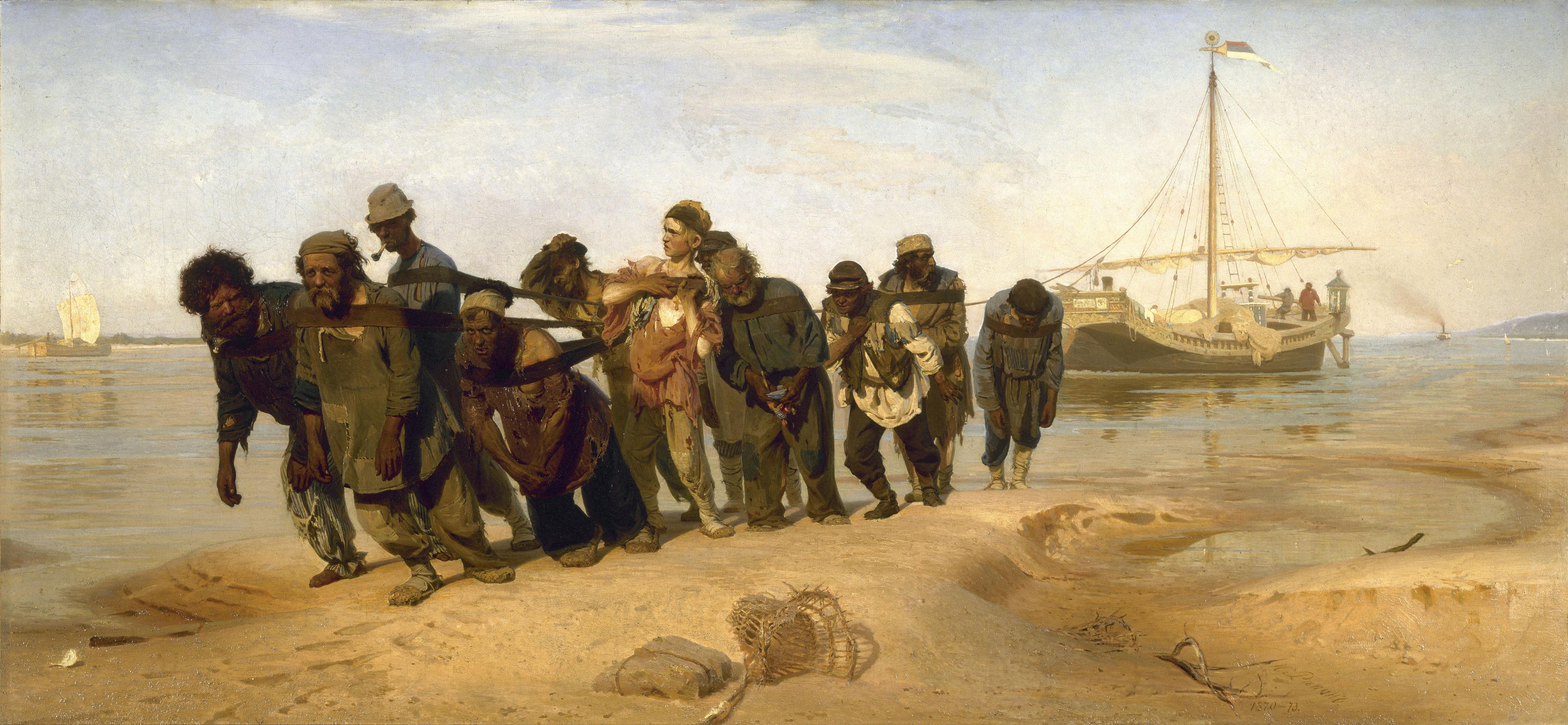 Painting by Ilia Efimovich Repin (1844-1930): Volga Boatmen (1870-1873)